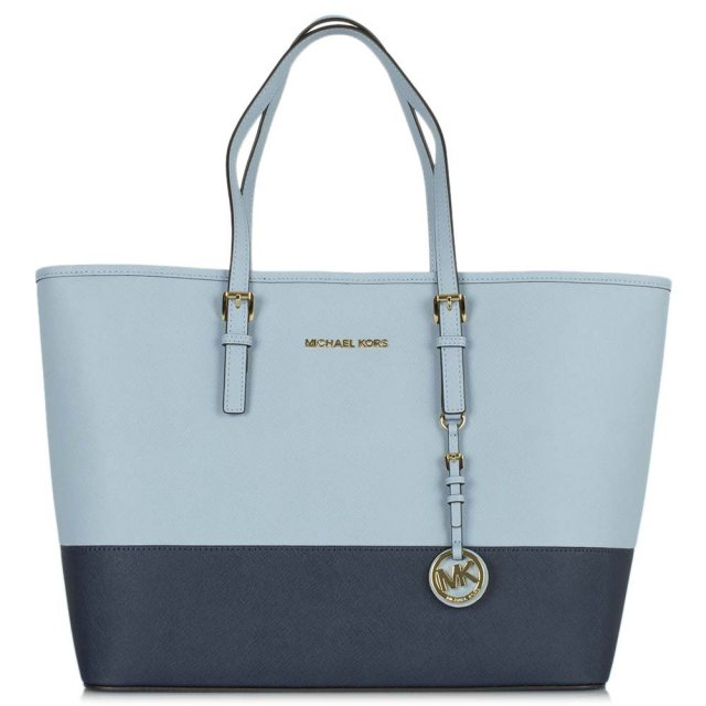 Blue Leather Jetset Travel Contrast Medium Tote Bag