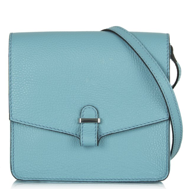Blue Leather Khloe Mini Messenger Bag