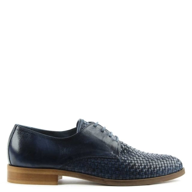 Blue Leather Woven Lace Up Loafer