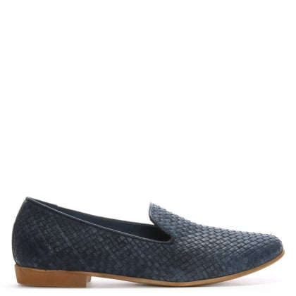Blue Leather Woven Loafers