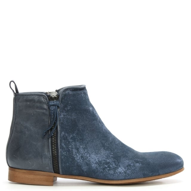 Blue Metallic Leather Ankle Boot
