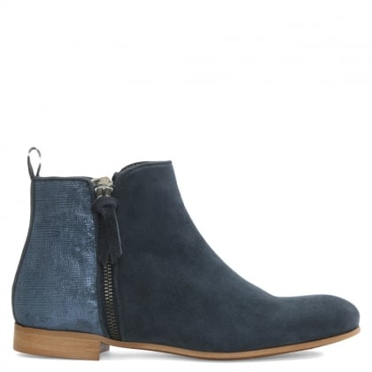 Blue Metallic Suede Ankle Boot