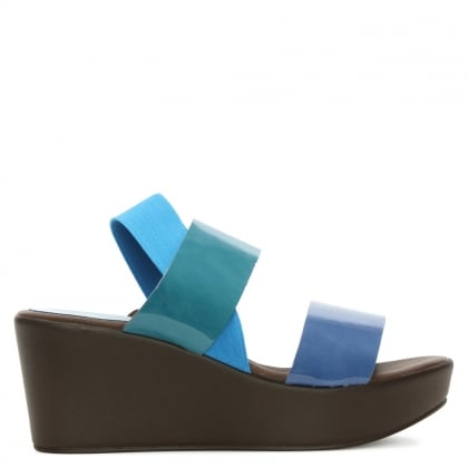 Blue Patent Colour Block Wedge Sandal