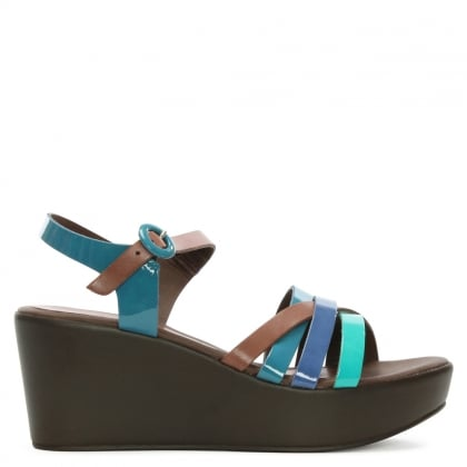Blue Strappy Wedge Sandal