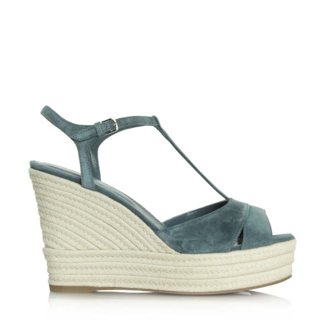 Blue Suede Edwige T Bar Wedge Sandal