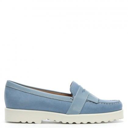 Blue Suede Fringe Loafers