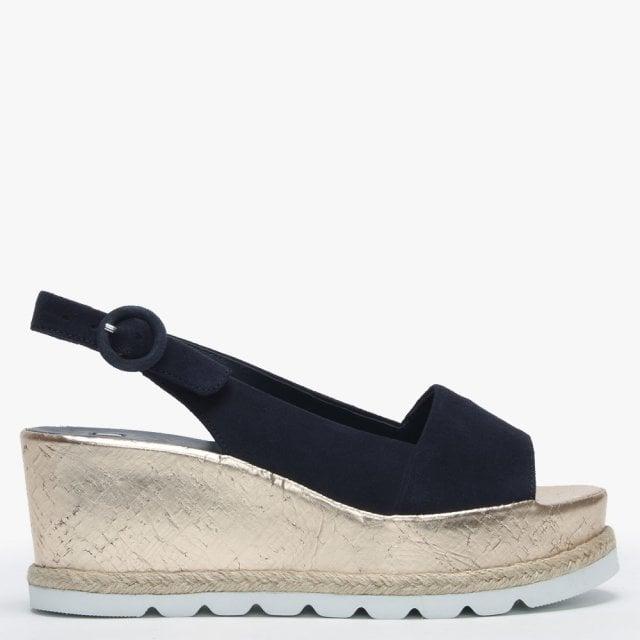 8a07bdb3f61e3 Hogl Blue Suede Low Cork Wedge Sandals