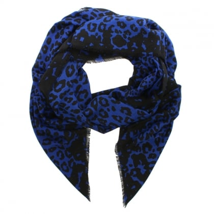 Blue Wool Mix Leopard Print Stole