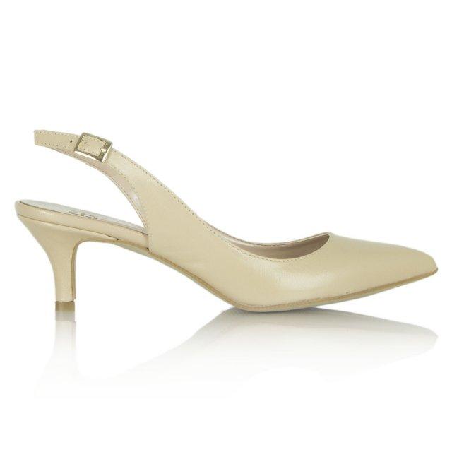 c762170c49a Bochaine Nude Leather Kitten Heel Sling Back Pointed Shoe