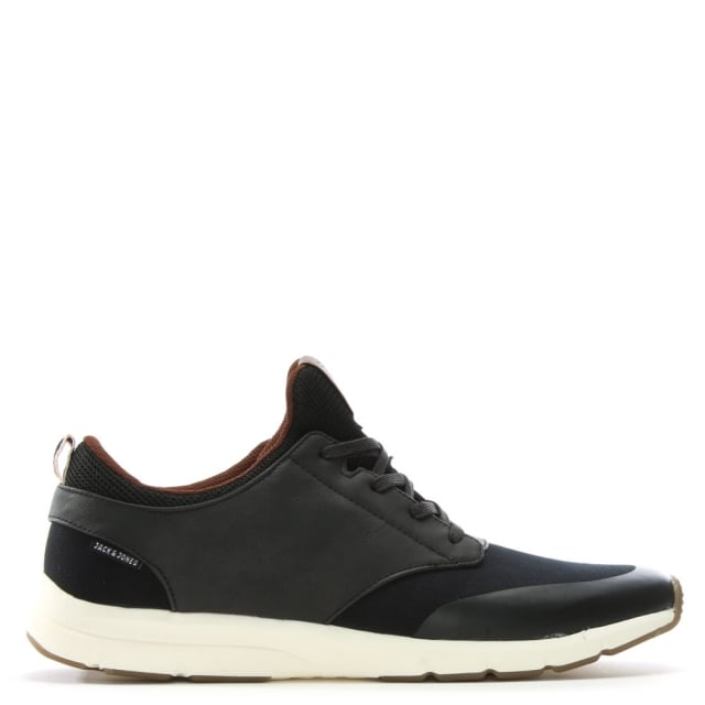 Bolton Black Synthetic Lace Up Trainers