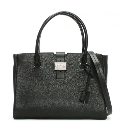 Bond Large Black Leather Satchel Bag