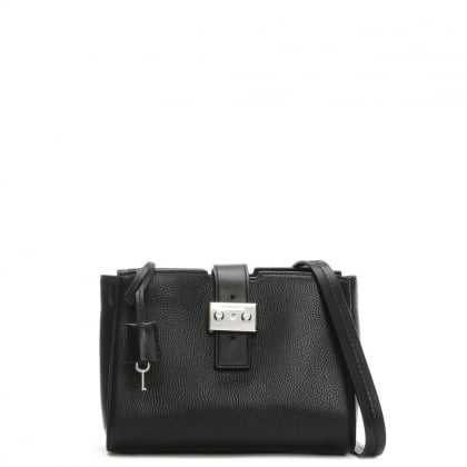 Bond Medium Black Leather Messenger Bag