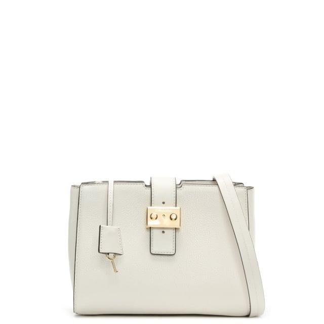 Bond Medium Optic White Leather Messenger Bag
