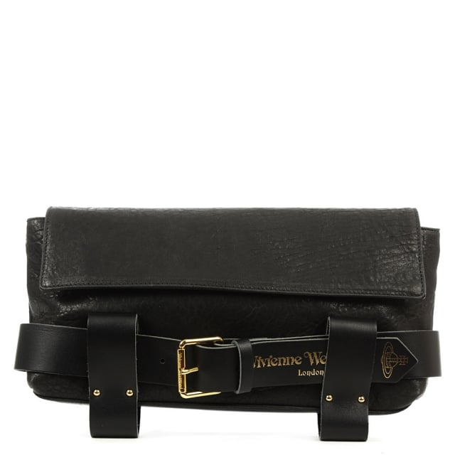 Bondage Black Leather Clutch Bag