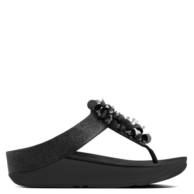 599557a879f FitFlop Boogaloo Black Leather Toe Post Sandals