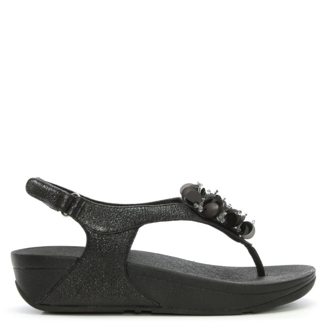 Boogaloo Black Metallic Flowery Sandal