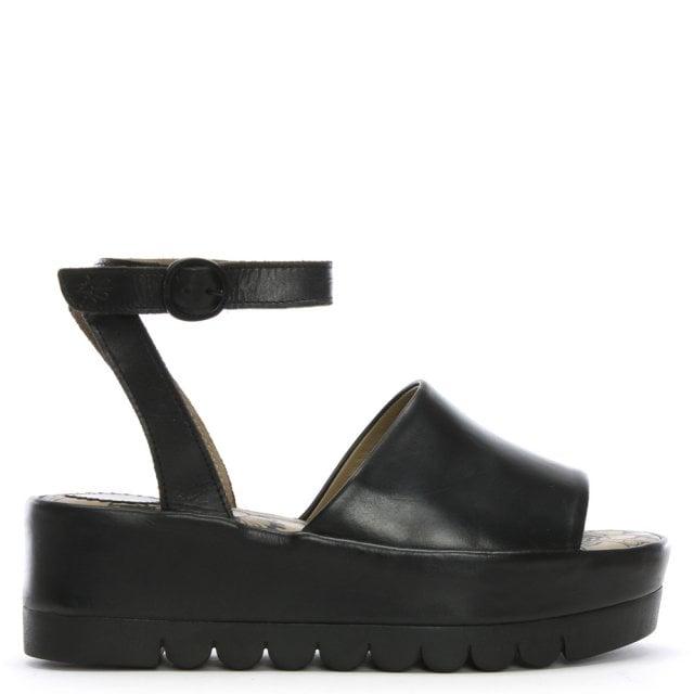 eafcffd8bd3 Fly London Booz Black Leather Flatform Sandals