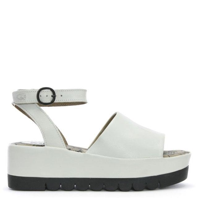 9e7489e38cd2 Fly London Booz White Leather Flatform Sandals