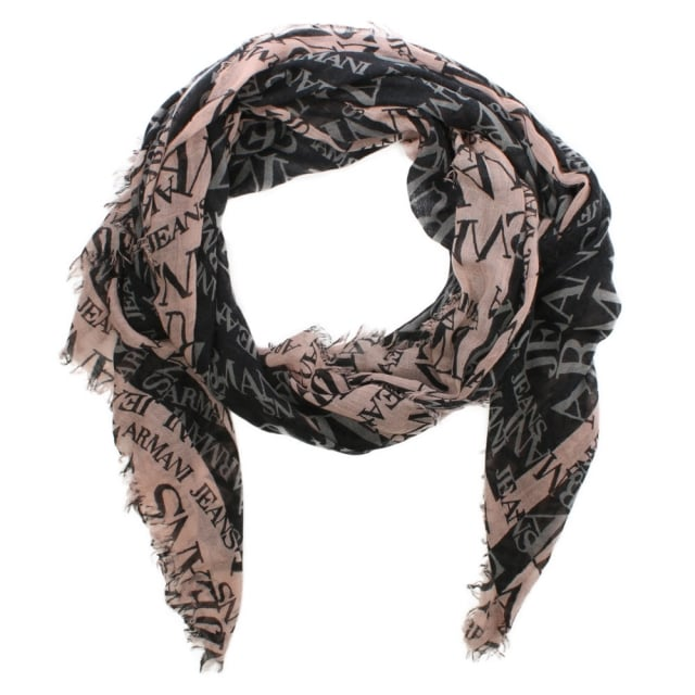 Bordered Black Wool Mix Logo Scarf
