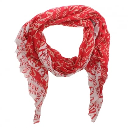 Bordered Red Wool Mix Logo Scarf