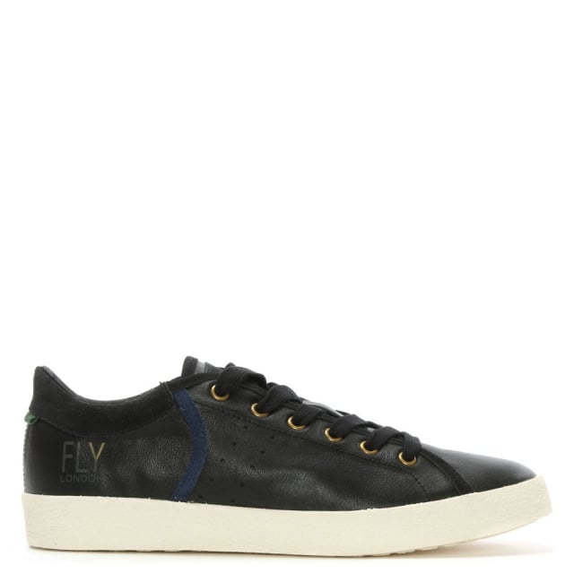 Bose Black Leather & Suede Lace Up Trainer