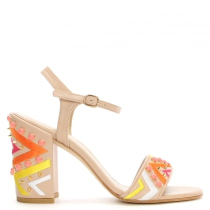 Stuart Weitzman Both Beige Leather Aztec Studded Block Heel Sandal
