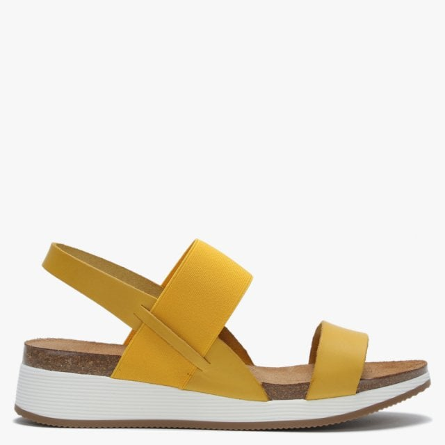 43f3418efde Bottlewell Yellow Leather Low Wedge Sandals