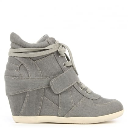 Bowie Washed Grey Denim Wedge High Top Trainer