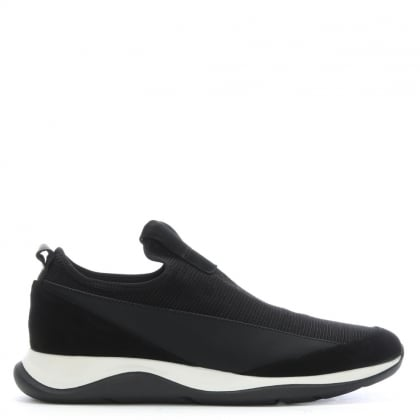 Brampton Black Leather & Suede Slip On Trainers