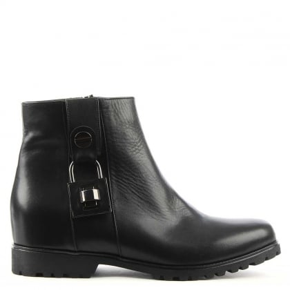 Brecken Black Leather Padlock Ankle Boot