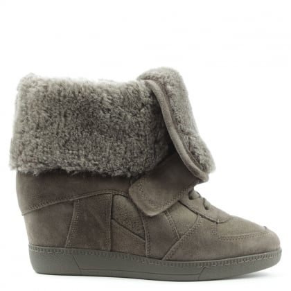 Brendy Taupe Suede Fur Cuff Wedge Trainer