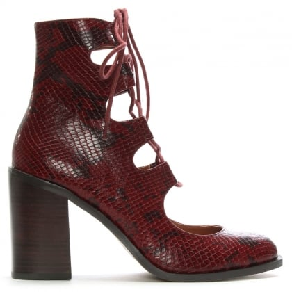 Bridge Red Leather Reptile Ghillie Shoe Boots