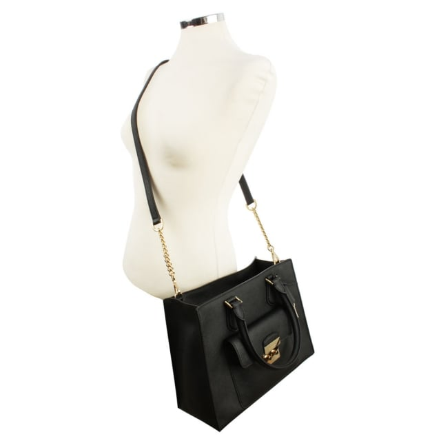 906ba38cdd2f Michael Kors Bridgette Medium Saffiano Black Leather Tote Bag