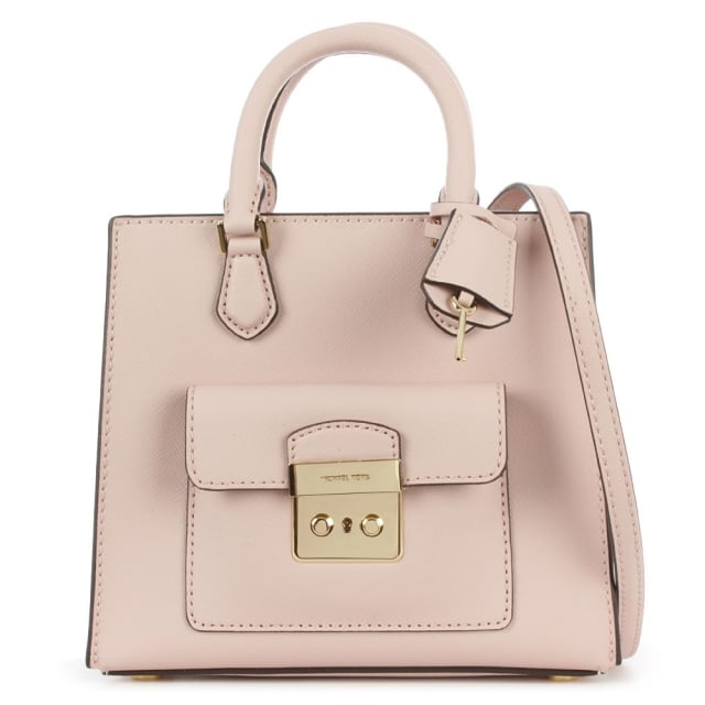 Bridgette Small Saffiano Pale Pink Leather Cross-Body Bag