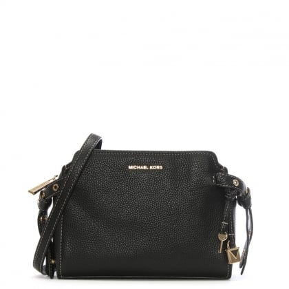Bristol Black Pebbled Leather Contrast Stitch Cross-Body Bag