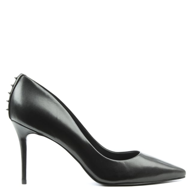 Britney Black Leather Studded Court Shoe