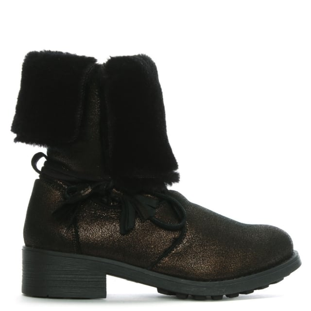 Bronze Fur Cuff Ankle Boots
