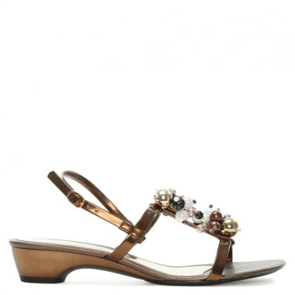 Rapisardi Bronze Metallic Beaded Sling Back Sandal