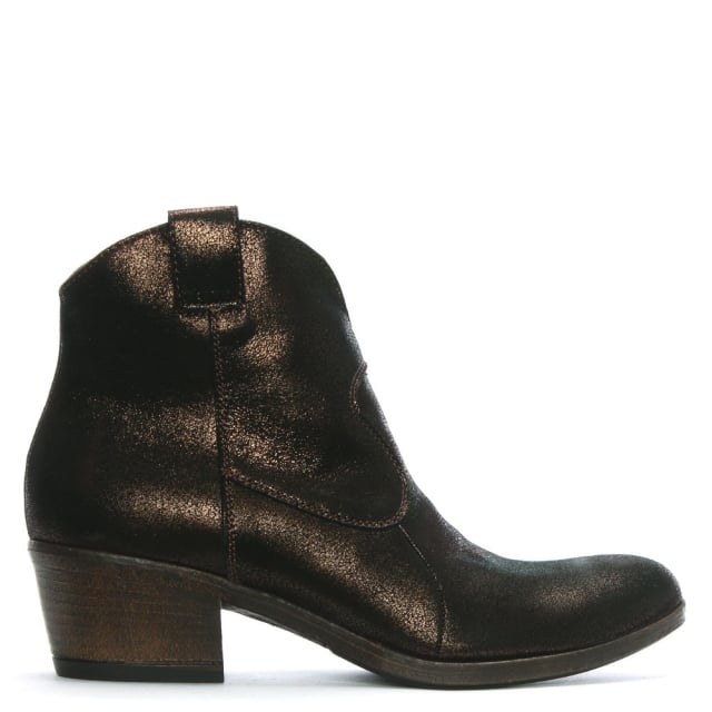 Bronze Metallic Leather Western Ankle Boots