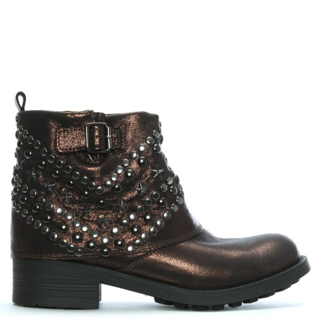 Bronze Metallic Studded Ankle Boots