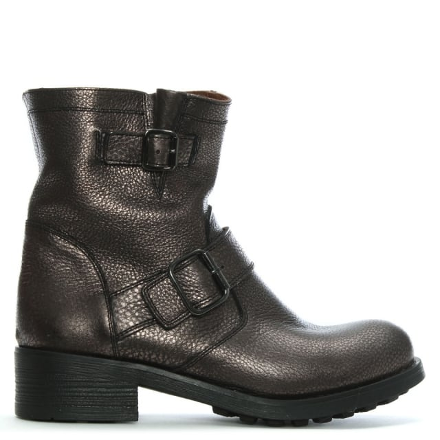 Bronze Pebbled Leather Biker Boots