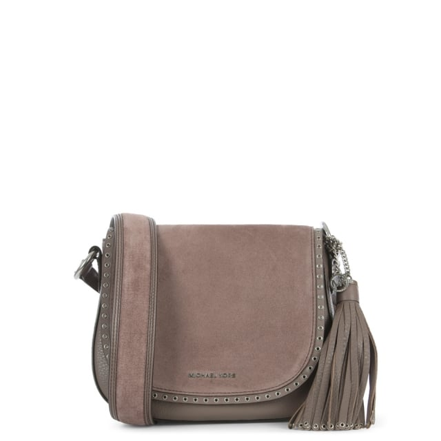 Brooklyn Cinder Leather & Suede Saddle Bag