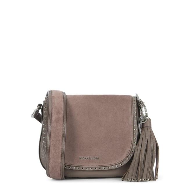 Brooklyn Cinder Leather & Suede Saddle Bag