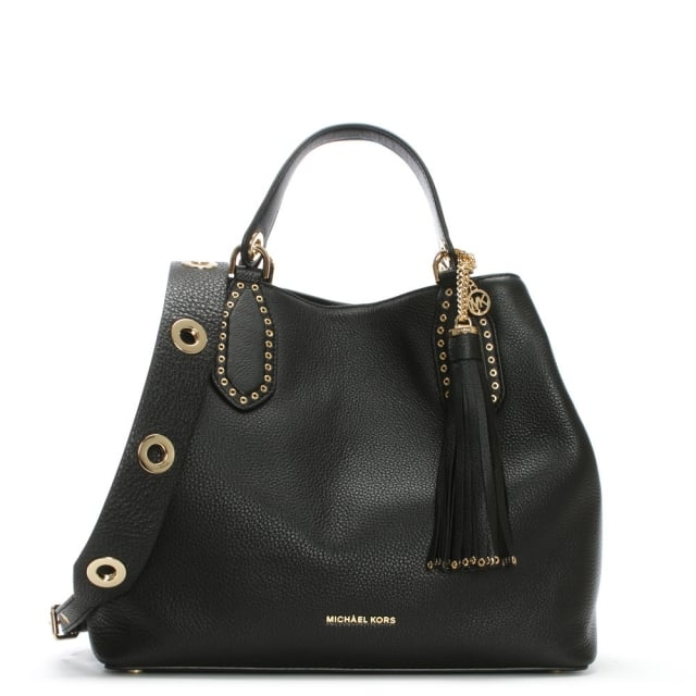8635a4509d91 Michael Kors Brooklyn Grommet Black Leather Tote Bag