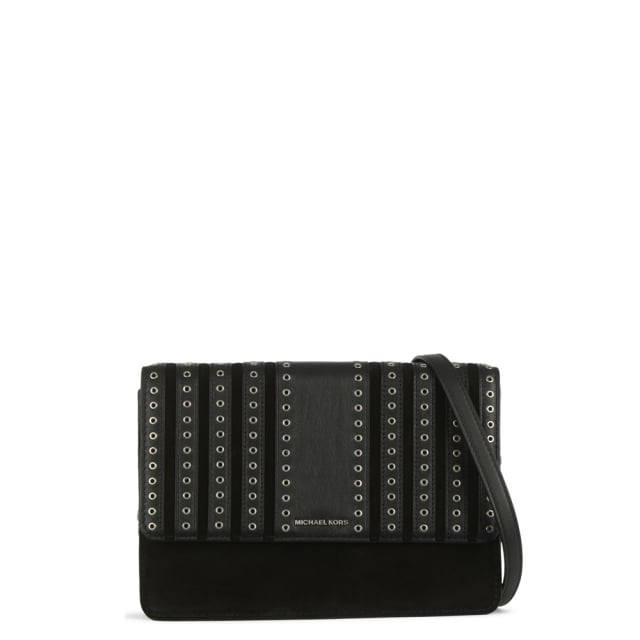 d08a0e659371 Michael Kors Brooklyn Grommet Black Suede & Leather Cross-Body Bag