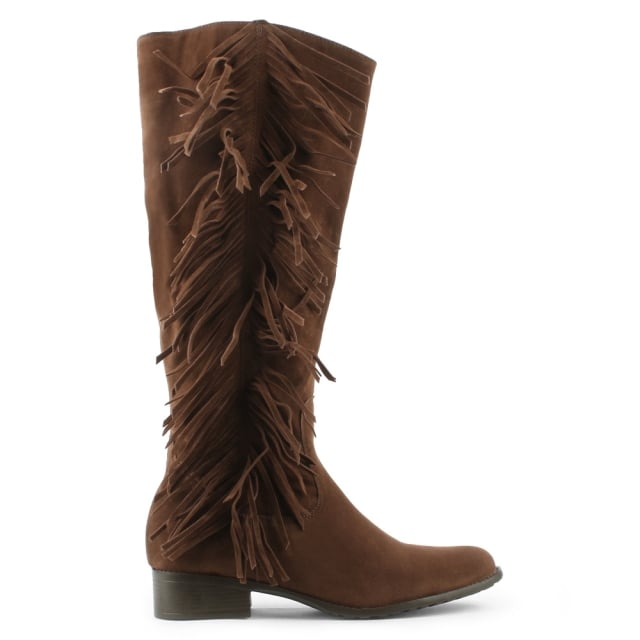 Brown Fringe Knee Boot