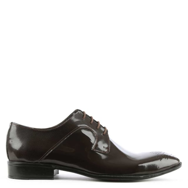 Brown Gloss Leather Lace Up Dress Shoe