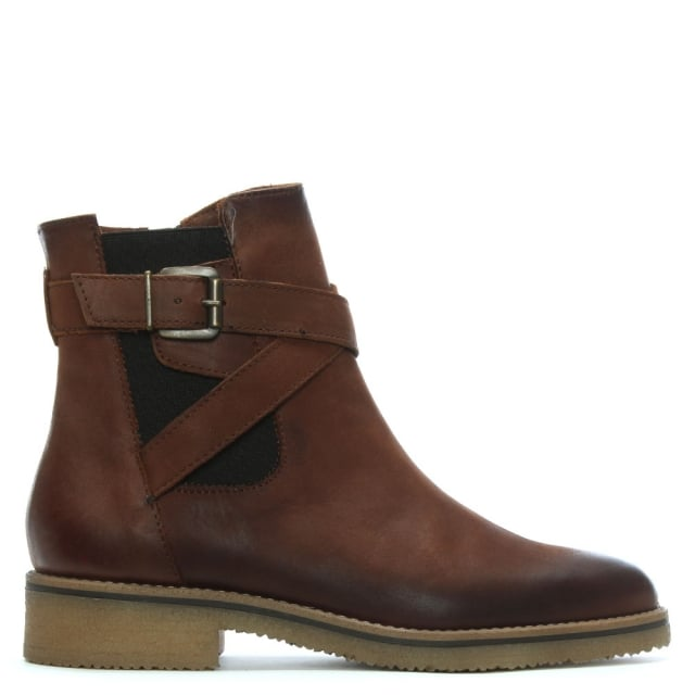Brown Leather Ankle Strap Boots