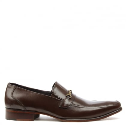 Brown Leather Buckle Loafer