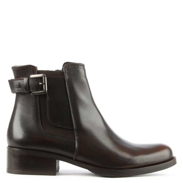 Brown Leather Chelsea Ankle Boot